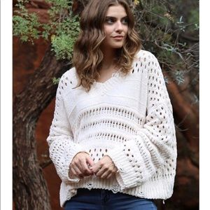 Chenille Distressed Pullover Sweater by Angie